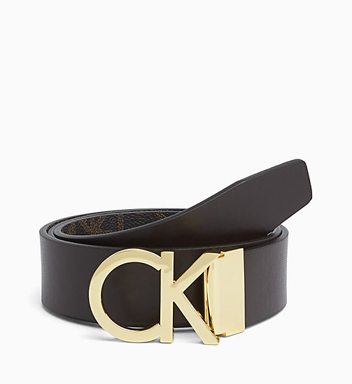 CALVINKLEIN Reversible Monogram Belt - BROWN MONOGRAM - CALVIN KLEIN BELTS - detail image 1