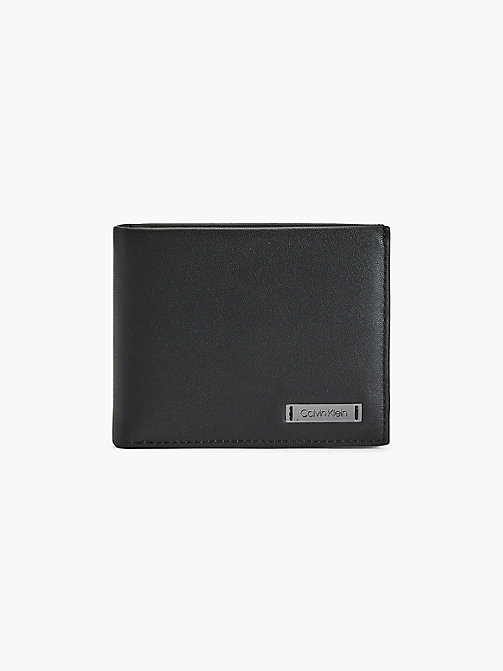CALVINKLEIN Leather Slim-Fold Plaque Wallet - BLACK - CALVIN KLEIN WALLETS & SMALL ACCESSORIES - main image