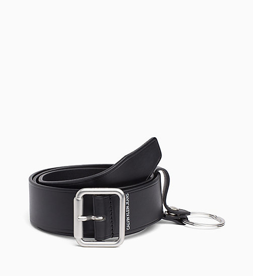 CALVIN KLEIN JEANS Leather Keyring Belt - BLACK - CALVIN KLEIN JEANS BELTS - main image