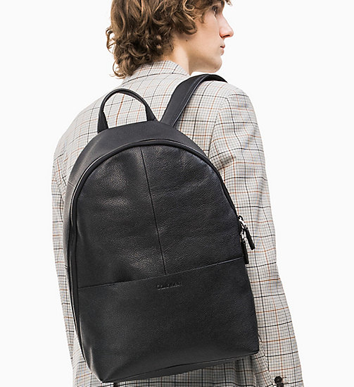 CALVIN KLEIN Leather Backpack - BLACK - CALVIN KLEIN VALENTINES - detail image 1