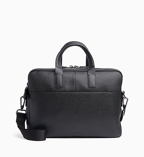 CALVIN KLEIN Leather Laptop Bag - BLACK - CALVIN KLEIN VALENTINES - main image