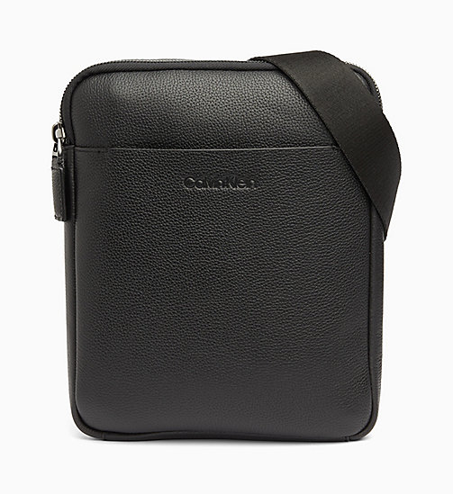 CALVIN KLEIN Leather iPad Cross Body Bag - BLACK - CALVIN KLEIN VALENTINES - main image