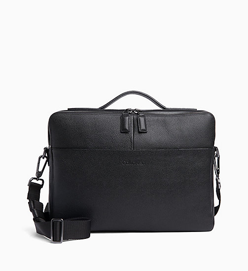 CALVIN KLEIN Slim Leather Laptop Bag - BLACK - CALVIN KLEIN VALENTINES - main image