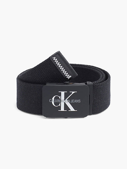 CALVIN KLEIN JEANS Canvas Plaque Belt - BLACK - CALVIN KLEIN JEANS FOR HIM - main image