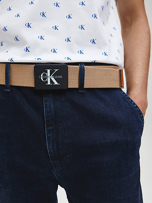 CALVIN KLEIN JEANS Canvas Plaque Belt - TANNIN - CALVIN KLEIN JEANS FOR HIM - detail image 1