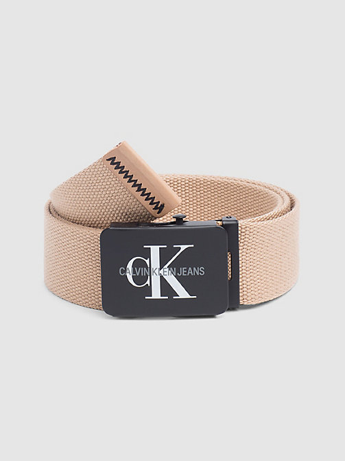 CALVIN KLEIN JEANS Canvas Plaque Belt - TANNIN - CALVIN KLEIN JEANS FOR HIM - main image