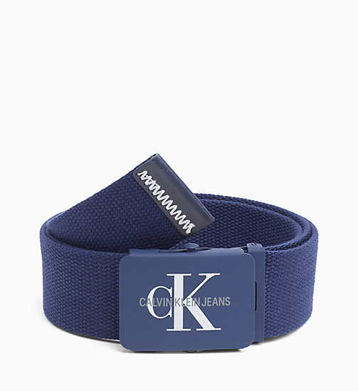 CALVIN KLEIN JEANS Canvas Plaque Belt - NAVY - CALVIN KLEIN JEANS BELTS - main image