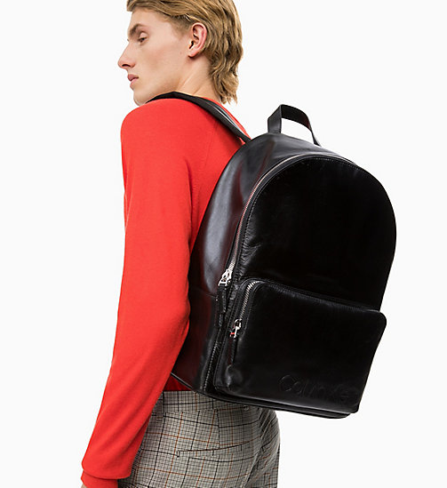 CALVIN KLEIN Leather Round Backpack - BLACK - CALVIN KLEIN VALENTINES - detail image 1
