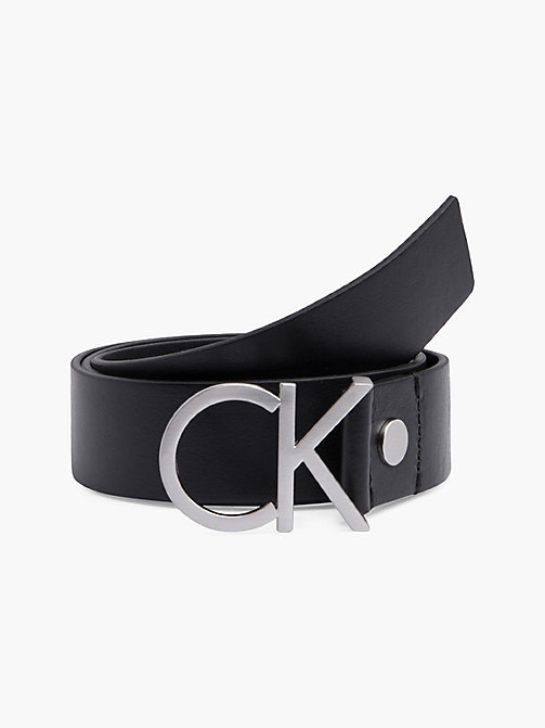CALVINKLEIN Leather Logo Belt - BLACK - CALVIN KLEIN BELTS - main image
