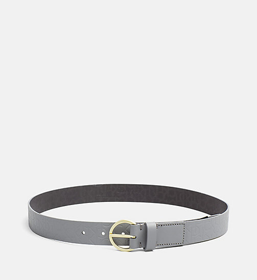 CALVINKLEIN Leather Logo Belt - STEEL GREY - CALVIN KLEIN SHOES & ACCESORIES - main image