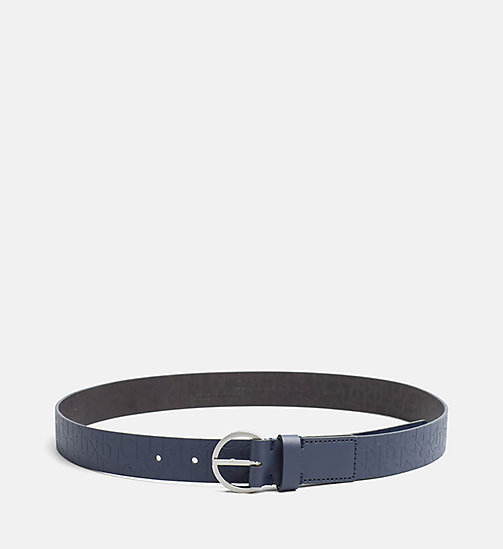 CALVINKLEIN Leather Logo Belt - BLUE NIGHT - CALVIN KLEIN SHOES & ACCESORIES - main image