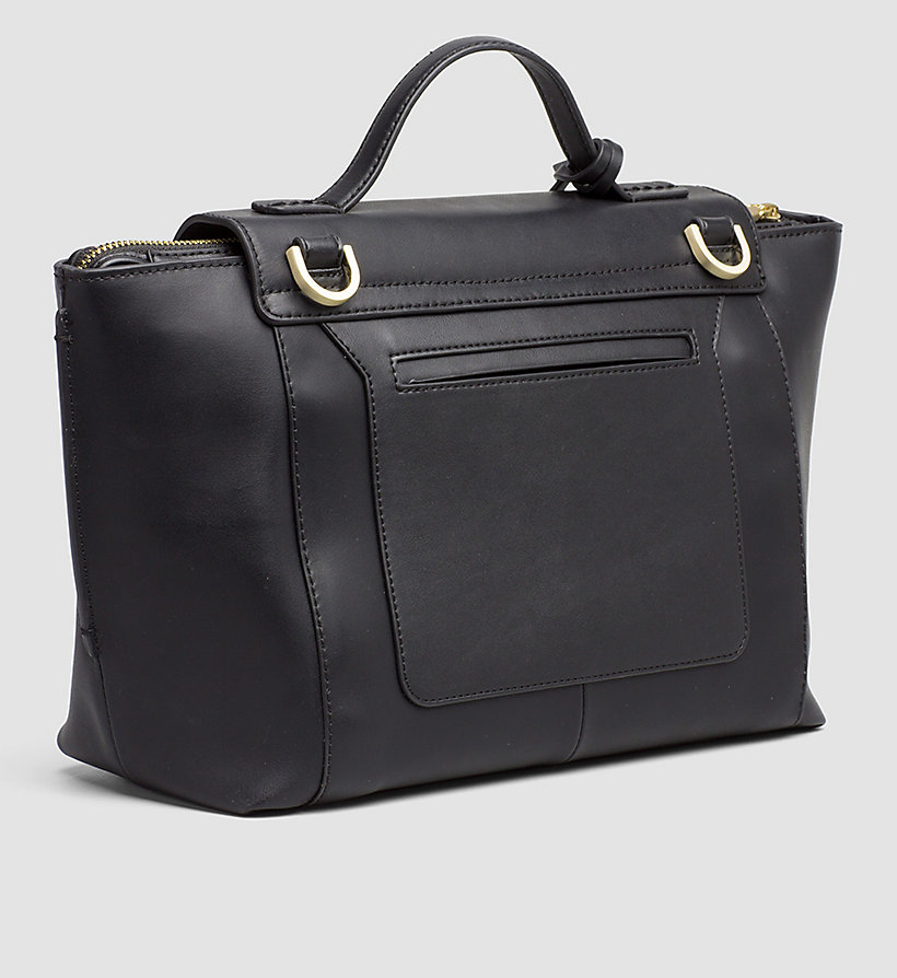 CALVINKLEIN Leather Top Handle Satchel - STEEL GREY - CALVIN KLEIN WOMEN - detail image 3
