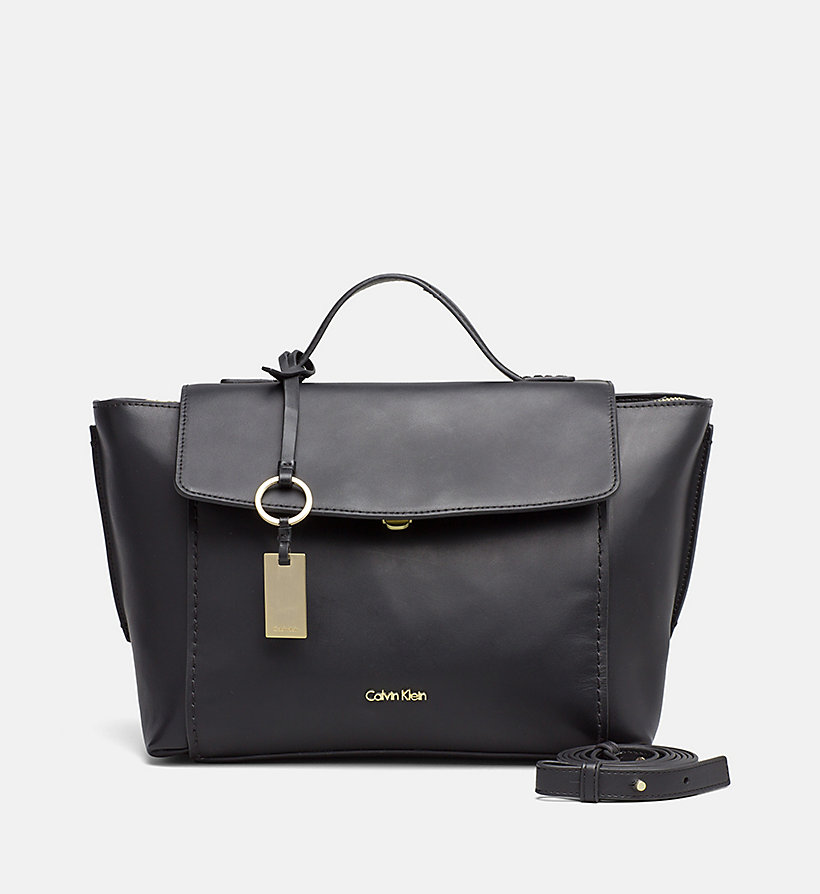 CALVINKLEIN Leather Top Handle Satchel - STEEL GREY - CALVIN KLEIN WOMEN - main image