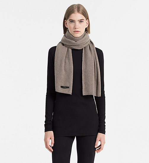 CALVINKLEIN Wool/Cashmere Blend Scarf - TAUPE - CALVIN KLEIN SHOES & ACCESORIES - detail image 1