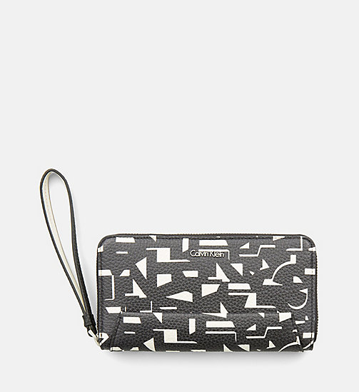 CALVINKLEIN Large Printed Zip-Around Wallet - BLACK / OFF WHITE CK PRINT - CALVIN KLEIN WALLETS & SMALL ACCESSORIES - main image