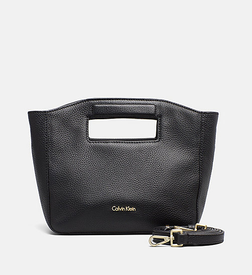 CALVINKLEIN Leather Mini Tote Bag - BLACK - CALVIN KLEIN CROSSOVER BAGS - main image