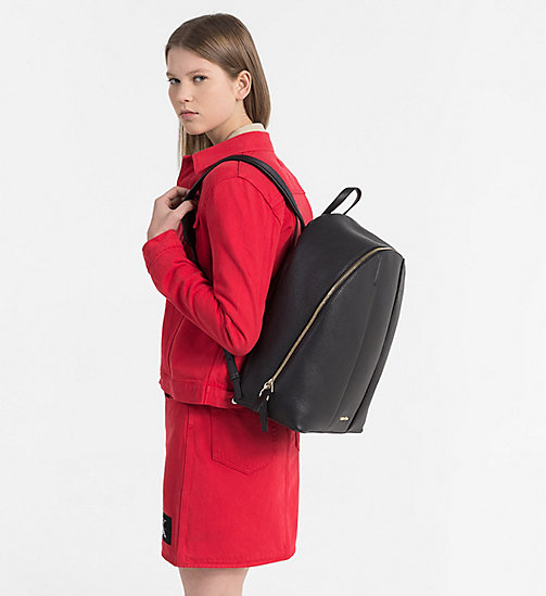 CALVINKLEIN Leather Round Backpack - BLACK - CALVIN KLEIN NEW IN - detail image 1