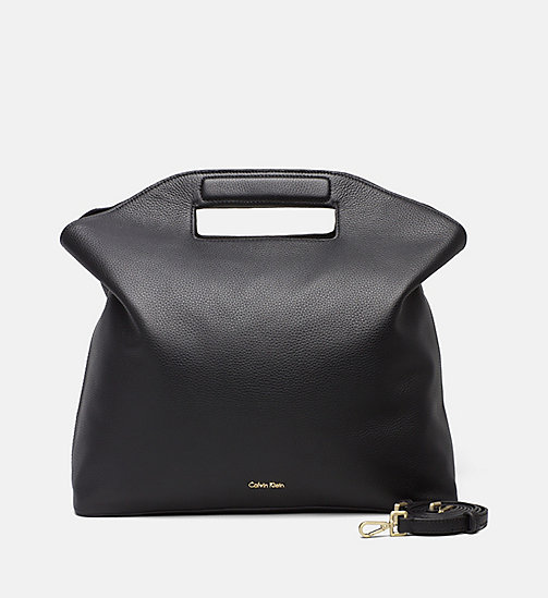CALVINKLEIN Large Leather Tote Bag - BLACK - CALVIN KLEIN TOTE BAGS - main image