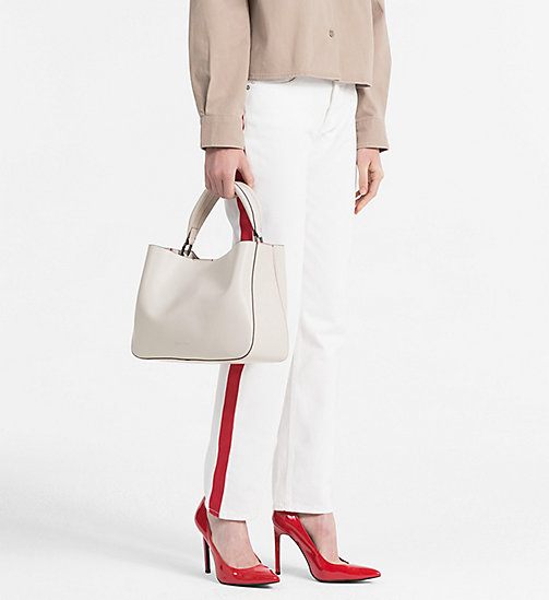 CALVINKLEIN Leather Tote Bag - CEMENT - CALVIN KLEIN BAGS & ACCESSORIES - detail image 1