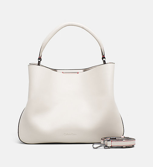 CALVINKLEIN Leather Tote Bag - CEMENT - CALVIN KLEIN SHOES & ACCESSORIES - main image