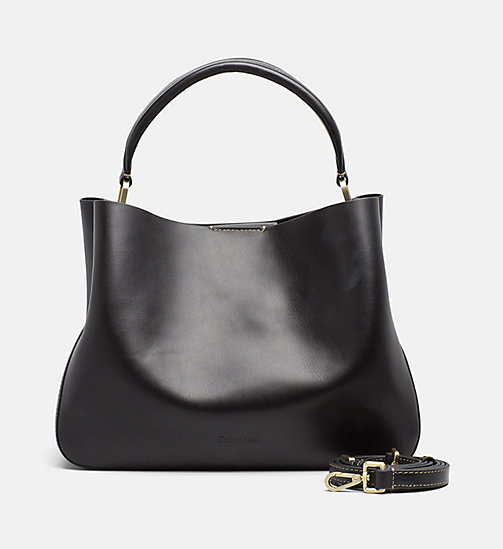 CALVINKLEIN Leather Tote Bag - BLACK - CALVIN KLEIN BAGS & ACCESSORIES - main image