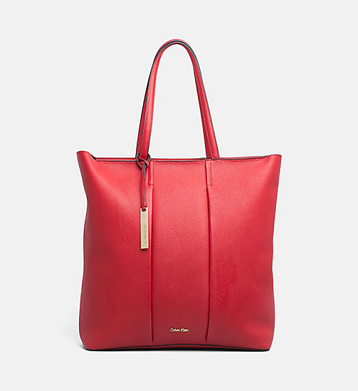 CALVINKLEIN Large LeatherTote Bag - SCARLET - CALVIN KLEIN BAGS & ACCESSORIES - main image
