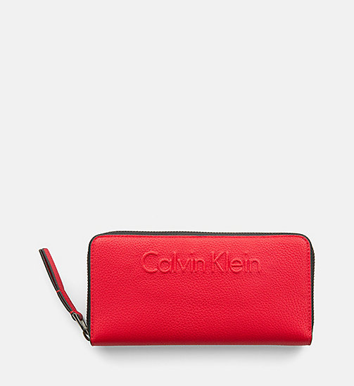 CALVINKLEIN Large Zip-Around Wallet - SCARLET - CALVIN KLEIN WALLETS & SMALL ACCESSORIES - main image