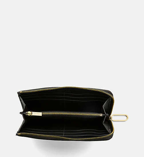 CALVINKLEIN Large Leather Zip-Around Wallet - BLACK - CALVIN KLEIN SHOES & ACCESORIES - detail image 1