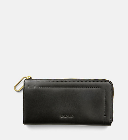 CALVINKLEIN Large Leather Zip-Around Wallet - BLACK - CALVIN KLEIN SHOES & ACCESORIES - main image