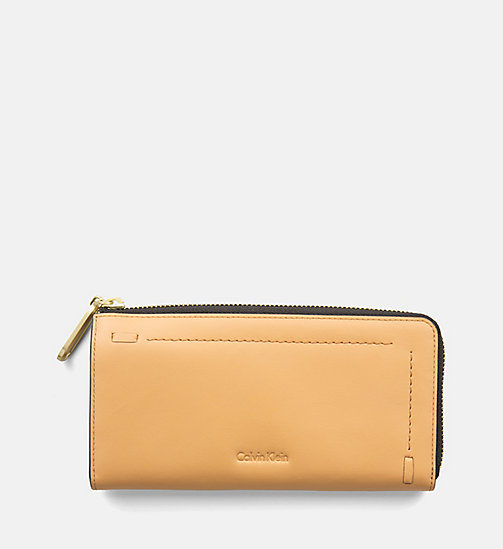 CALVINKLEIN Large Leather Zip-Around Wallet - TOAST - CALVIN KLEIN BAGS & ACCESSORIES - main image