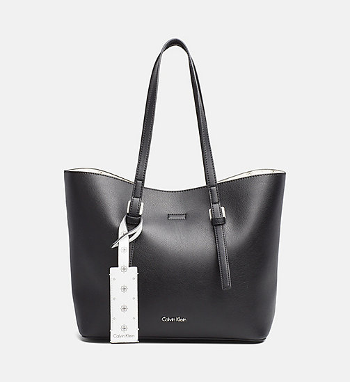 CALVINKLEIN Medium Tote Bag - BLACK/CK WHITE - CALVIN KLEIN NEW IN - main image