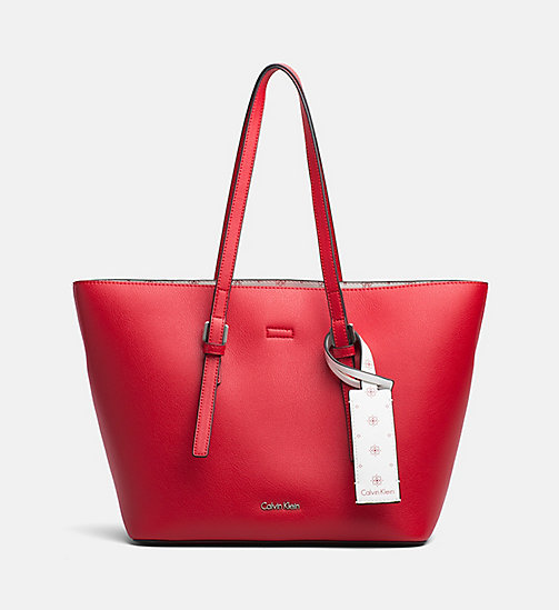 CALVINKLEIN Medium Tote Bag - SCARLET/CK WHITE - CALVIN KLEIN NEW IN - main image
