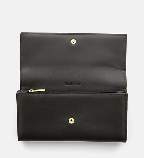 CALVINKLEIN Large Leather Trifold Wallet - BLACK - CALVIN KLEIN WALLETS & SMALL ACCESSORIES - detail image 1