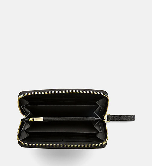 CALVINKLEIN Large Leather Zip-Around Wallet - BLACK - CALVIN KLEIN BAGS & ACCESSORIES - detail image 1