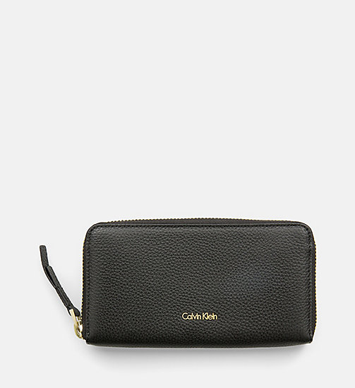 CALVINKLEIN Large Leather Zip-Around Wallet - BLACK - CALVIN KLEIN WALLETS & SMALL ACCESSORIES - main image