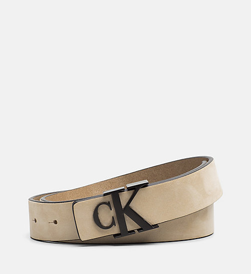 CALVIN KLEIN JEANS Leather Belt - SAFARI - CALVIN KLEIN JEANS BELTS - main image