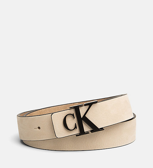 CALVIN KLEIN JEANS Leather Belt - CREAM TAN - CALVIN KLEIN JEANS BELTS - main image