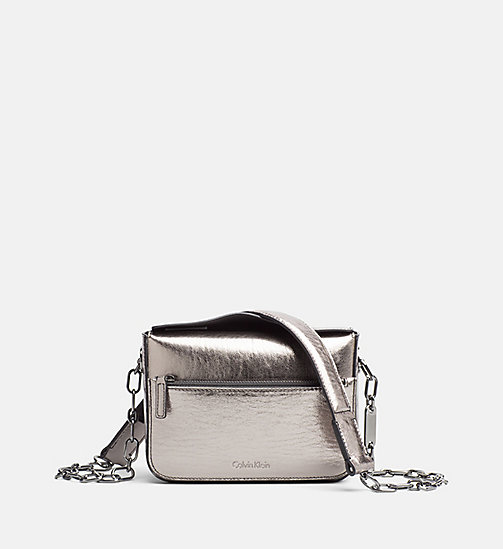CALVINKLEIN Small Metallic Crossover - GUNMETAL - CALVIN KLEIN SHOES & ACCESORIES - main image