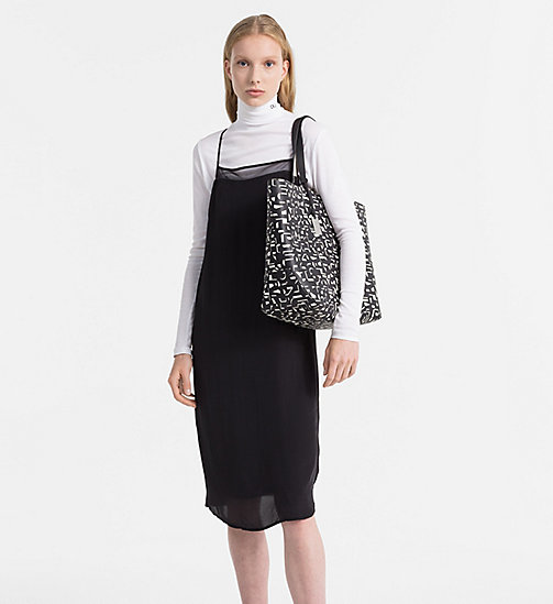 CALVINKLEIN Large Printed Shopper Bag - BLACK / OFF WHITE CK PRINT - CALVIN KLEIN BAGS & ACCESSORIES - detail image 1
