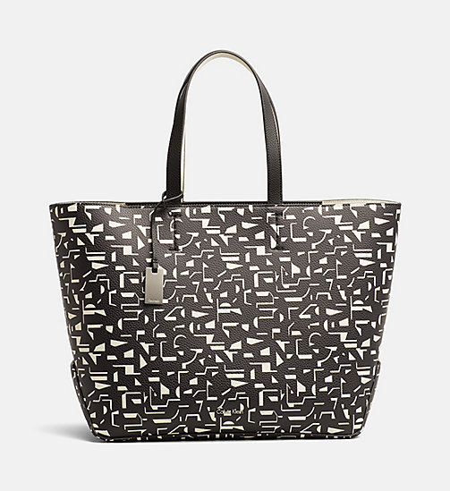 CALVINKLEIN Large Printed Shopper Bag - BLACK / OFF WHITE CK PRINT - CALVIN KLEIN TOTE BAGS - main image