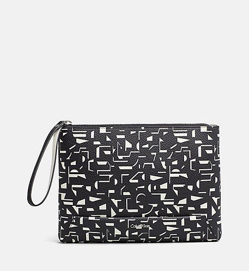 CALVINKLEIN Printed Pouch Clutch - BLACK / OFF WHITE CK PRINT - CALVIN KLEIN SHOES & ACCESSORIES - main image