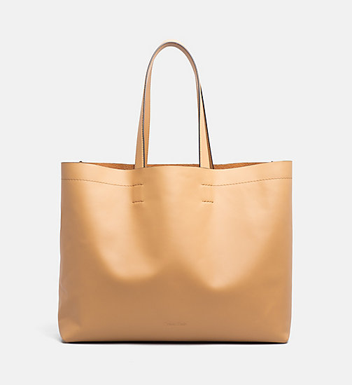 CALVINKLEIN Large Leather Tote Bag - TOAST - CALVIN KLEIN GIFTS - main image