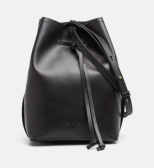 CALVINKLEIN Leather Bucket Bag - BLACK - CALVIN KLEIN BAGS & ACCESSORIES - main image
