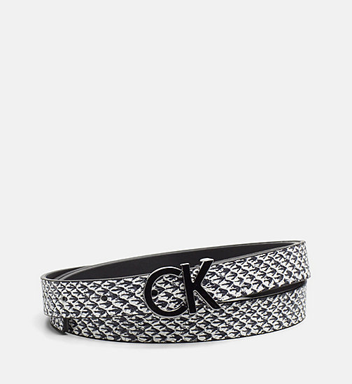 CALVINKLEIN Skinny Leather Waist Belt - BLACK & WHITE SNAKE - CALVIN KLEIN SHOES & ACCESORIES - main image