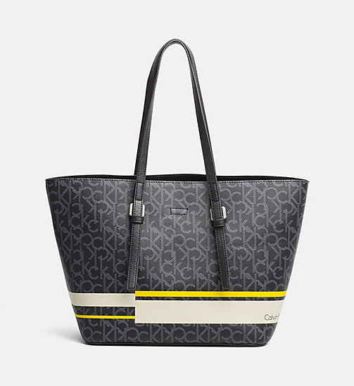 CALVINKLEIN Medium tote bag met logo - BLACK / STRIPE - CALVIN KLEIN LOGO SHOP - main image