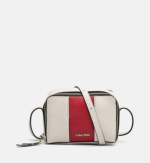 CALVINKLEIN Small Leather Crossover - CEMENT / SCARLET - CALVIN KLEIN BAGS & ACCESSORIES - main image