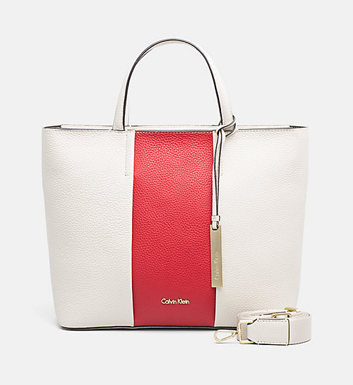 CALVINKLEIN Medium Leather Tote Bag - CEMENT / SCARLET - CALVIN KLEIN TOTE BAGS - main image