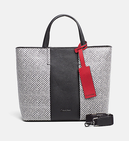 CALVINKLEIN Snake Print Leather Tote Bag - BLACK/SNAKE - CALVIN KLEIN BAGS & ACCESSORIES - main image