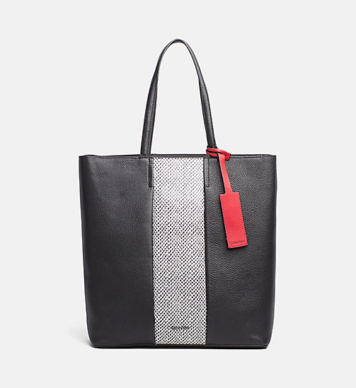 CALVINKLEIN Large Leather Tote Bag - BLACK/SNAKE - CALVIN KLEIN NEW IN - main image