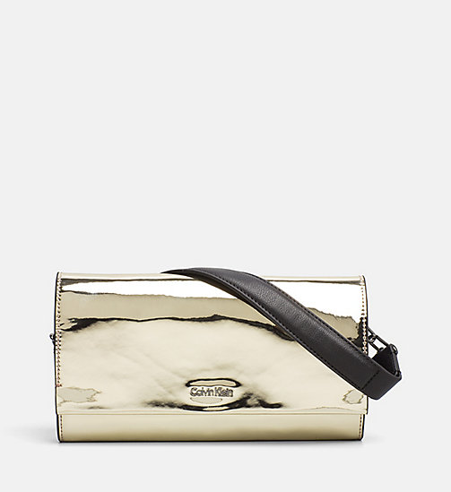 CALVINKLEIN Metallic Clutch on Chain - LIGHT GOLD - CALVIN KLEIN BAGS & ACCESSORIES - main image